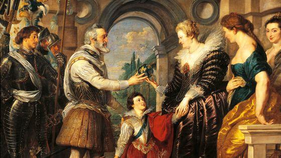 """Henri IV et sa seconde épouse Marie de Médicis. Détail des 24 tableaux """"Histoire de la reine Marie de Médicis"""" créés pour le Palais du Luxembourg à Paris"""