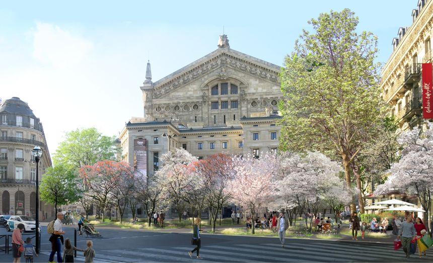 Une forêt urbaine devant l'opéra