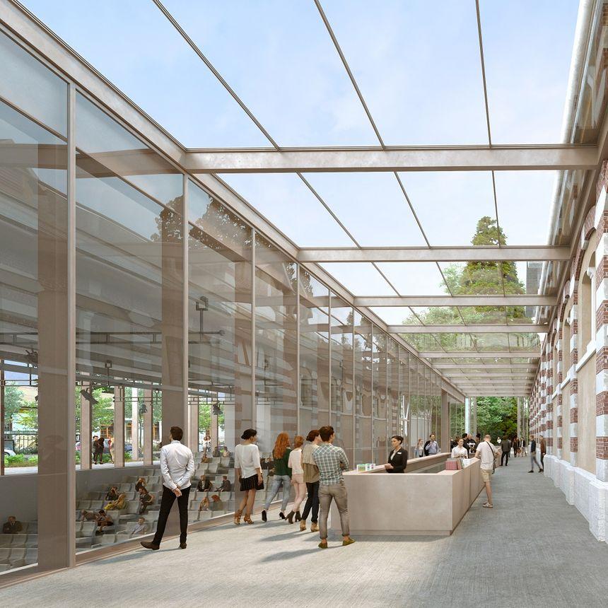 Le passage couvert entre la salle de projection et le bâtiment du haras qui abritera la salle d'expositon temportaire. (Dessin d'architecte, cabient Devaux et Devaux)
