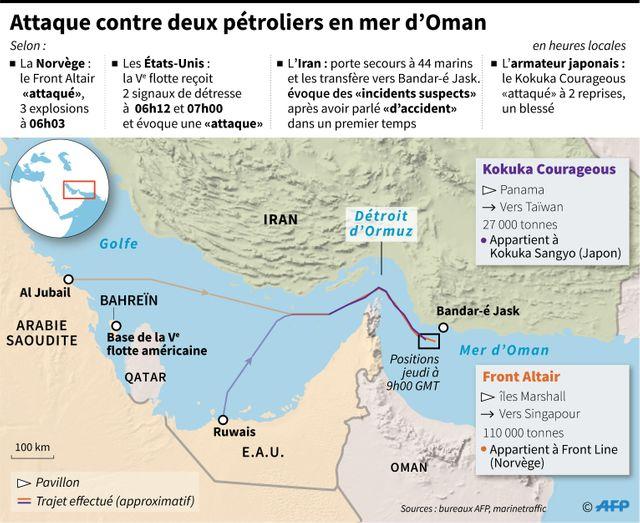La zone de l'attaque des deux tankers, le 13 juin 2019