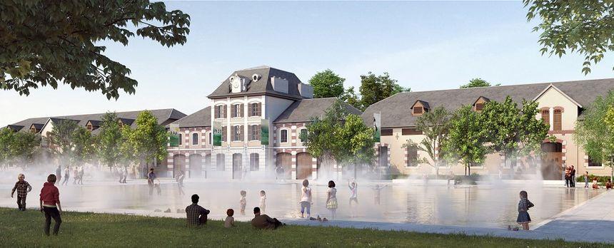Différents jeux d'eau animeront le bassin central. (dessin d'architecte, cabinet Devaux et Devaux)