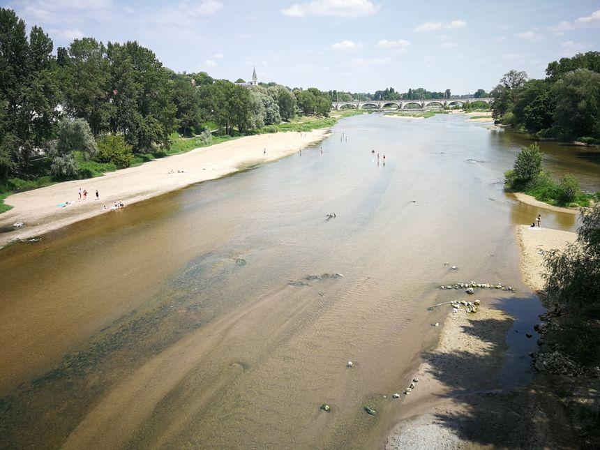 Depuis le pont Napoléon, à 14h, on aperçoit déjà quelques Tourangeaux qui bravent pour l'interdiction de se baigner dans la Loire.