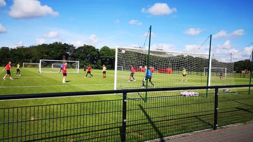 Les joueurs d'En Avant de Guingamp, à l'entraînement, en juillet 2018