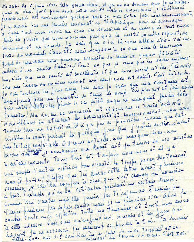 Lettre de Marcel Ouimet à sa femme Jacqueline