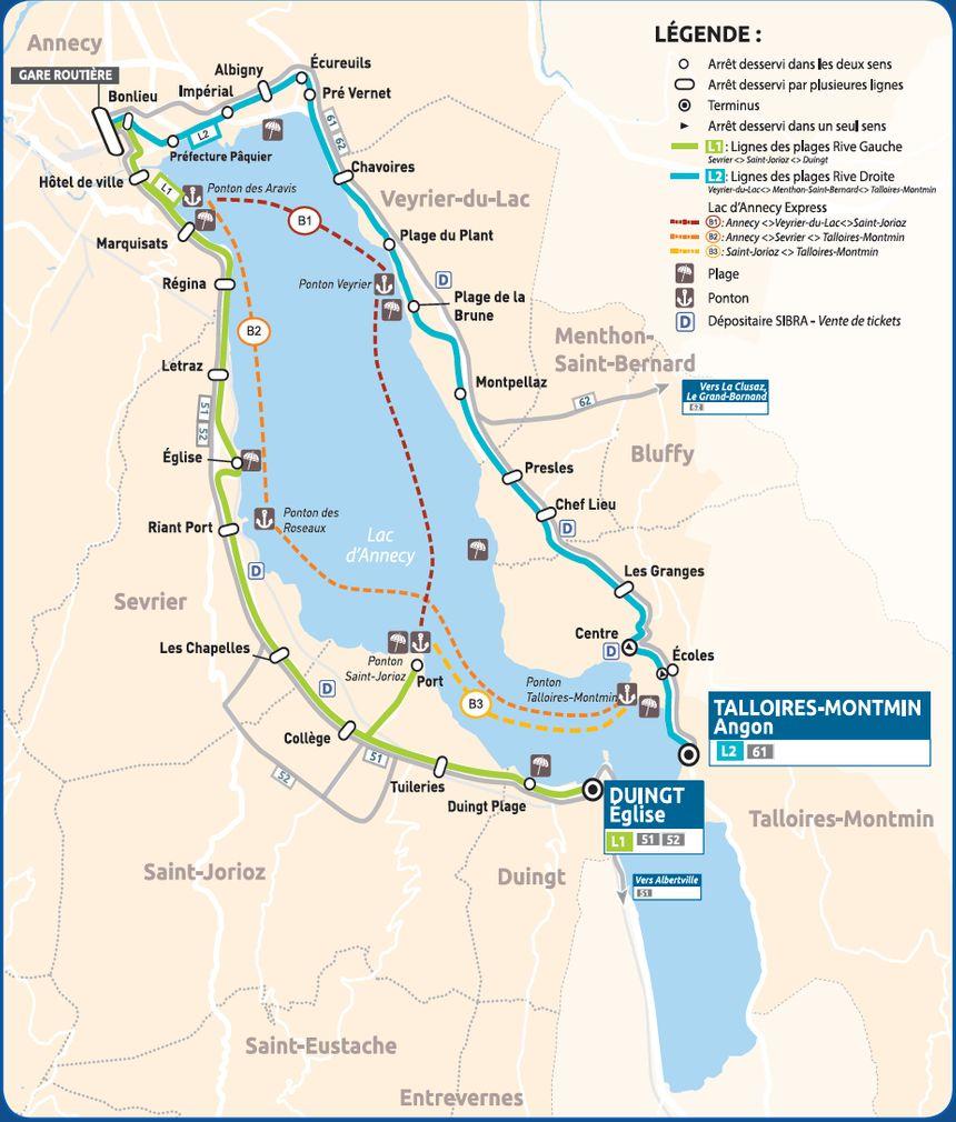 Carte des navettes lacustres et des bus des plages mis en place cet été sur le lac d'Annecy. (document Grand Annecy)