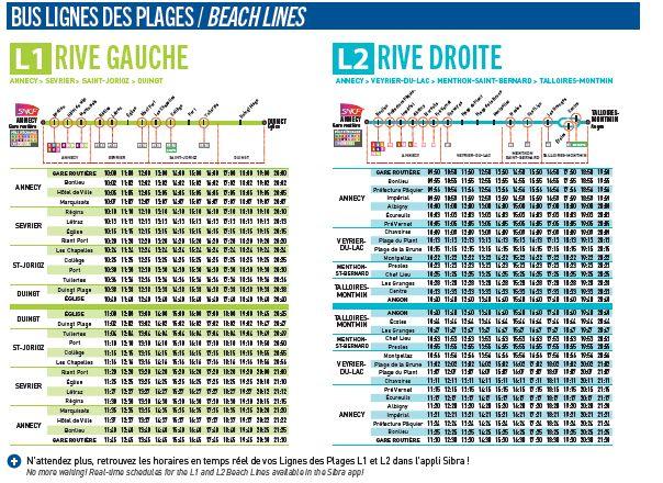 Lignes et horaires des bus des plages du lac d'Annecy. (document Grand Annecy)