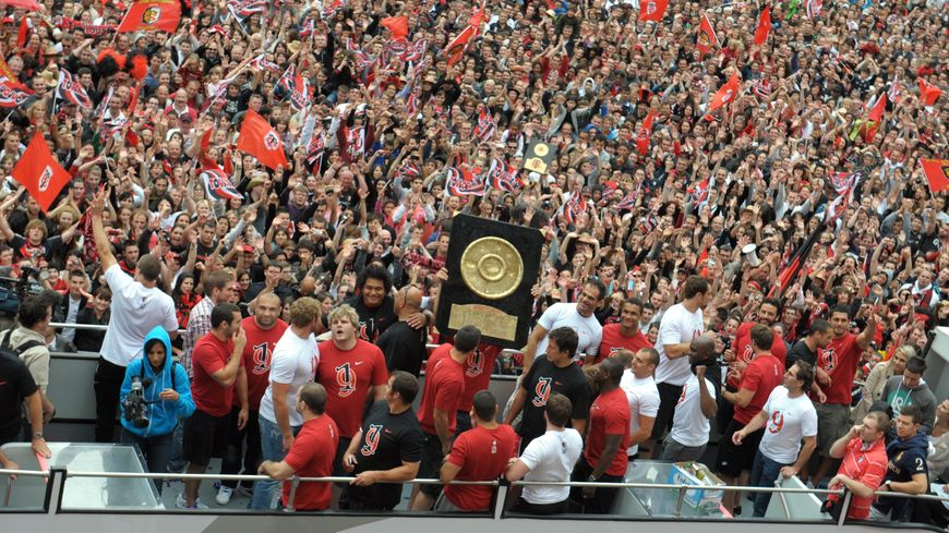 La dernière fois que le Stade Toulousain a présenté le bouclier de Brennus place du Capitole c'était en 2012 (photo d'archives)