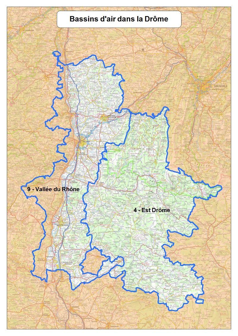 Toute la Drôme est concernée ainsi que la partie de l'Ardèche située en vallée du Rhône