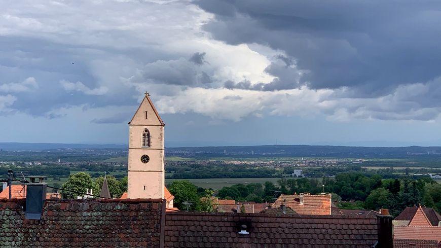 Wattwiller, le clocher de l'église Saint-Jean-Baptiste