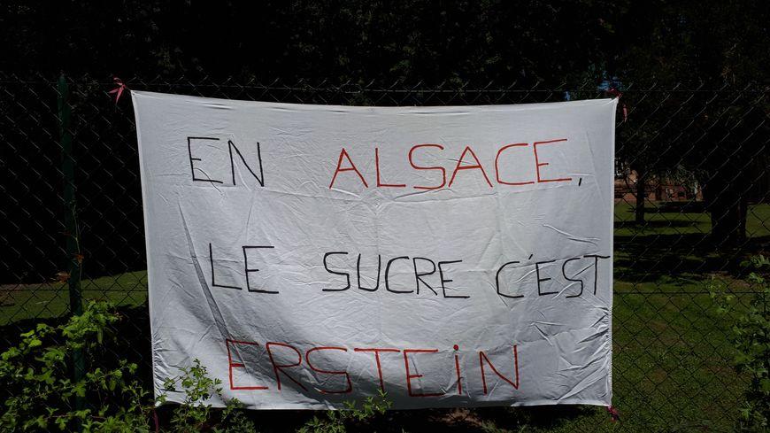 Près de 200 personnes se sont rassemblées devant la sucrerie d'Erstein vendredi 28 juin 2019 pour protester contre la suppression de postes.