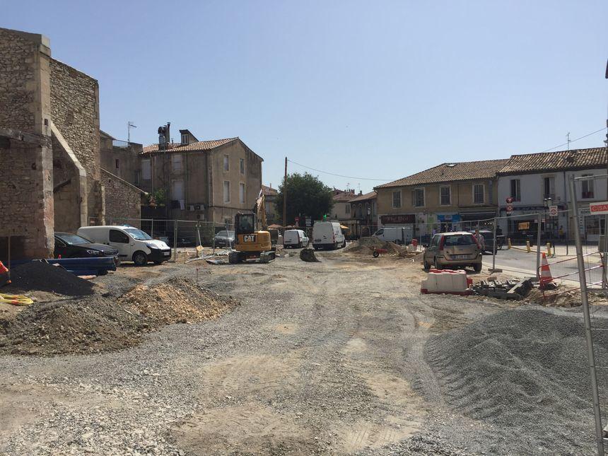 Les travaux sur la rue du Cirque Romain dans le centre de Nîmes