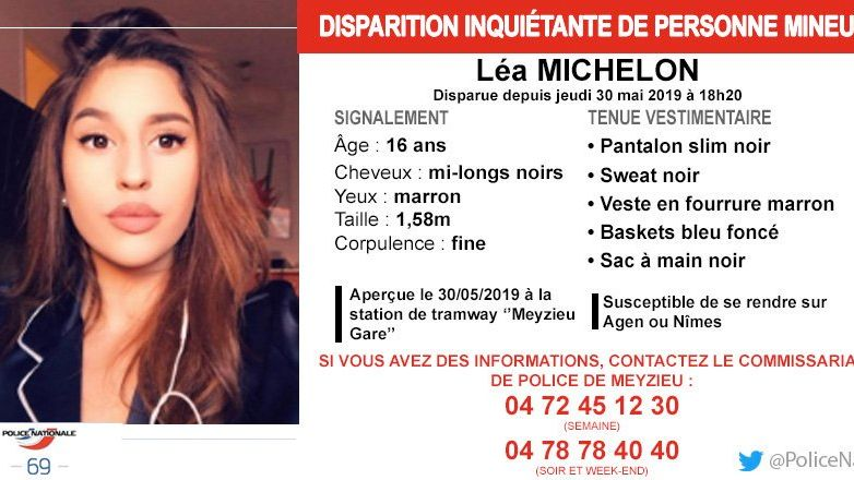 L'appel à témoin lancé par la police pour retrouver cette jeune fille originaire de Meyzieu près de Lyon