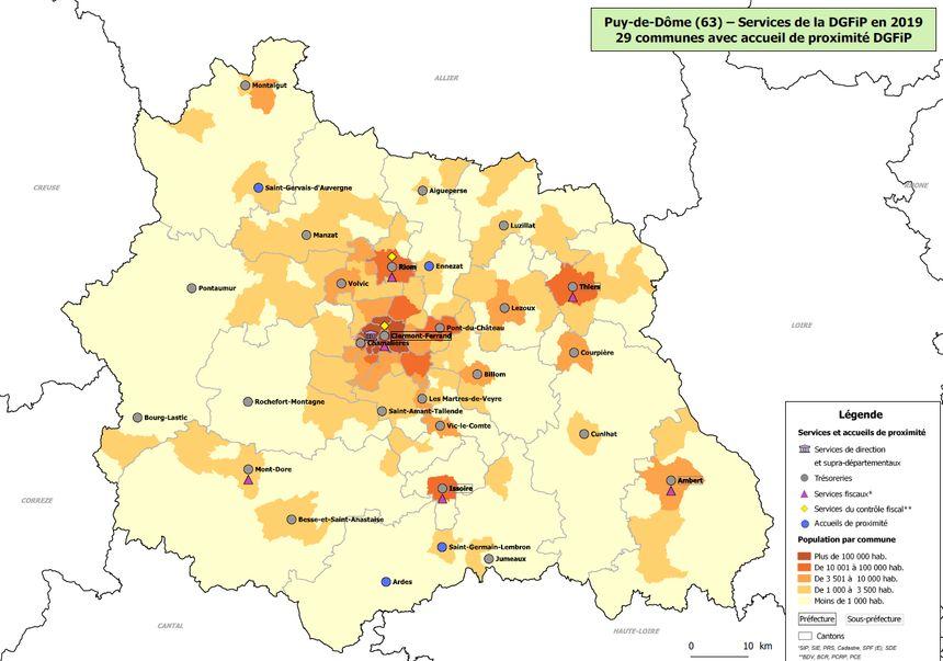 La carte du réseau des services locaux des finances publiques du Puy-de-Dôme 2019