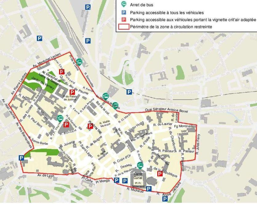 Plan de la zone de circulation restreinte à Chambéry