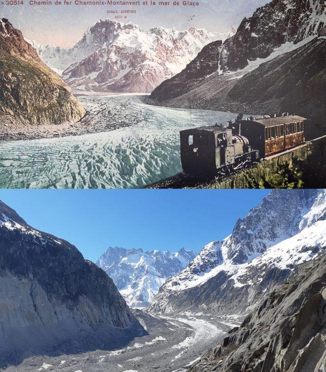 La Mer de glace au début du vingtième siècle et aujourd'hui