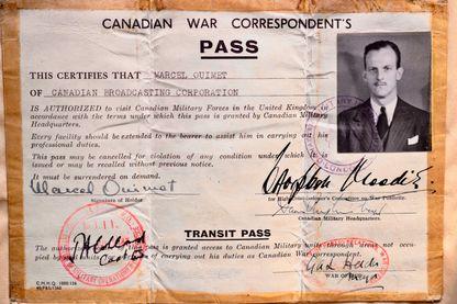 Carte de correspondant de guerre de Marcel Ouimet