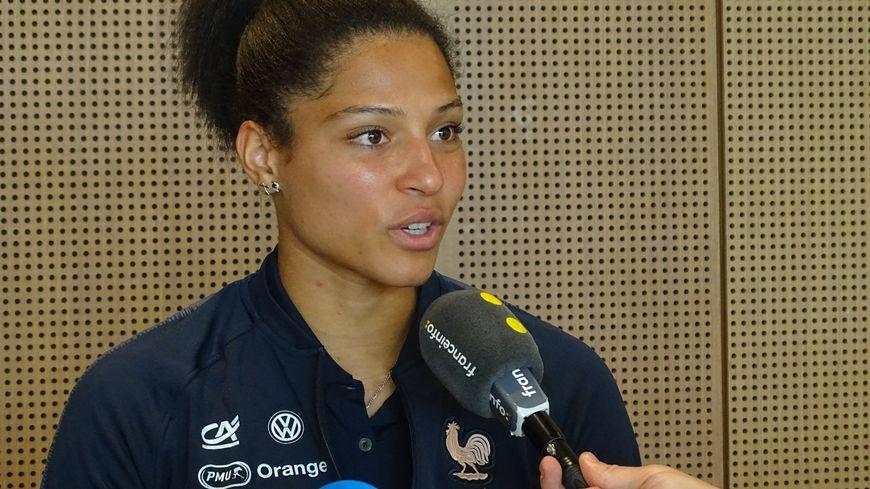 Valérie Gauvin (montpellier, D1F) attaquante de l'équipe de France à l'occasion du média day du 28-5-2019
