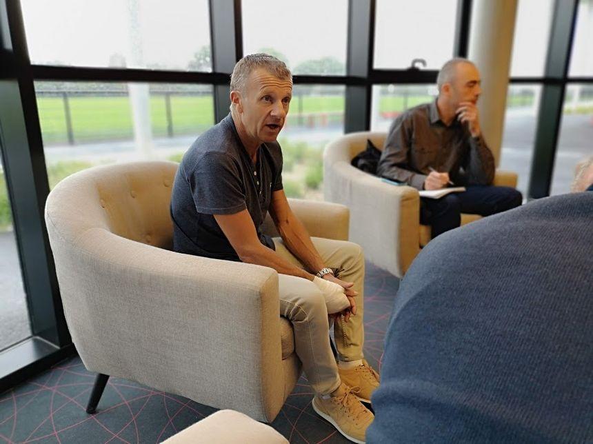 Patrice Lair, entraîneur d'En Avant Guingamp, lors de sa présentation officielle
