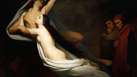 Les ombres de Francesca da Rimini et de Paolo Malatesta apparaissent à Dante et à Virgile (peinture d'Ary Scheffer°