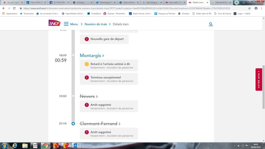 Capture d'écran du site Info trafic SNCF concernant l'Intercités 5977.
