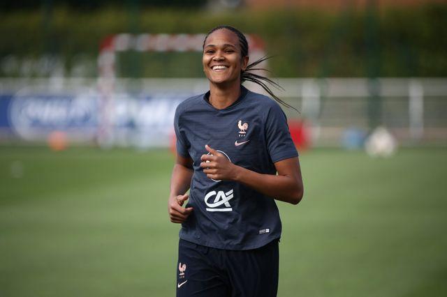 Wendie Renard lors d'un entraînement de l'équipe de France féminine à Clairefontaine