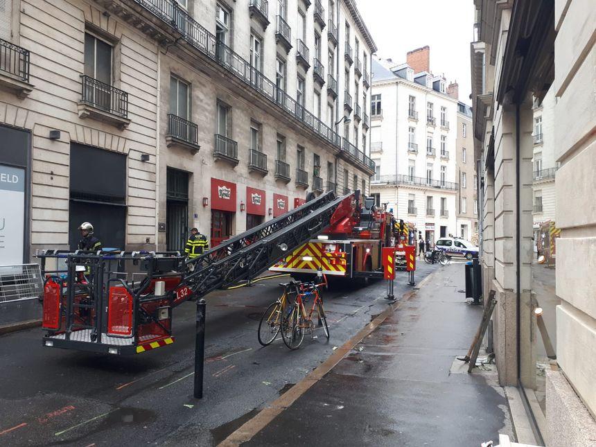 Intervention des pompiers rue du Couëdic à Nantes
