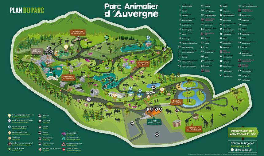 Plan du Parc Animalier d'Auvergne