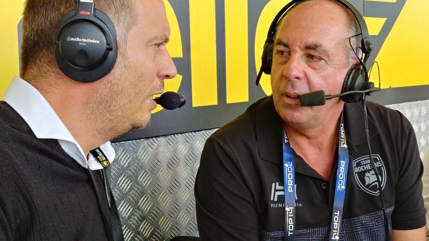 Gérald Paris et Didier Morin en direct sur France Bleu La Rochelle pour commenter la victoire des maritimes