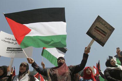 Une manifestation de réfugiés palestiniens à Beyrouth au Liban contre la conférence de Manama