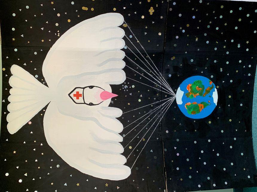 Les élèves cellois ont également réalisé une affiche pour la paix