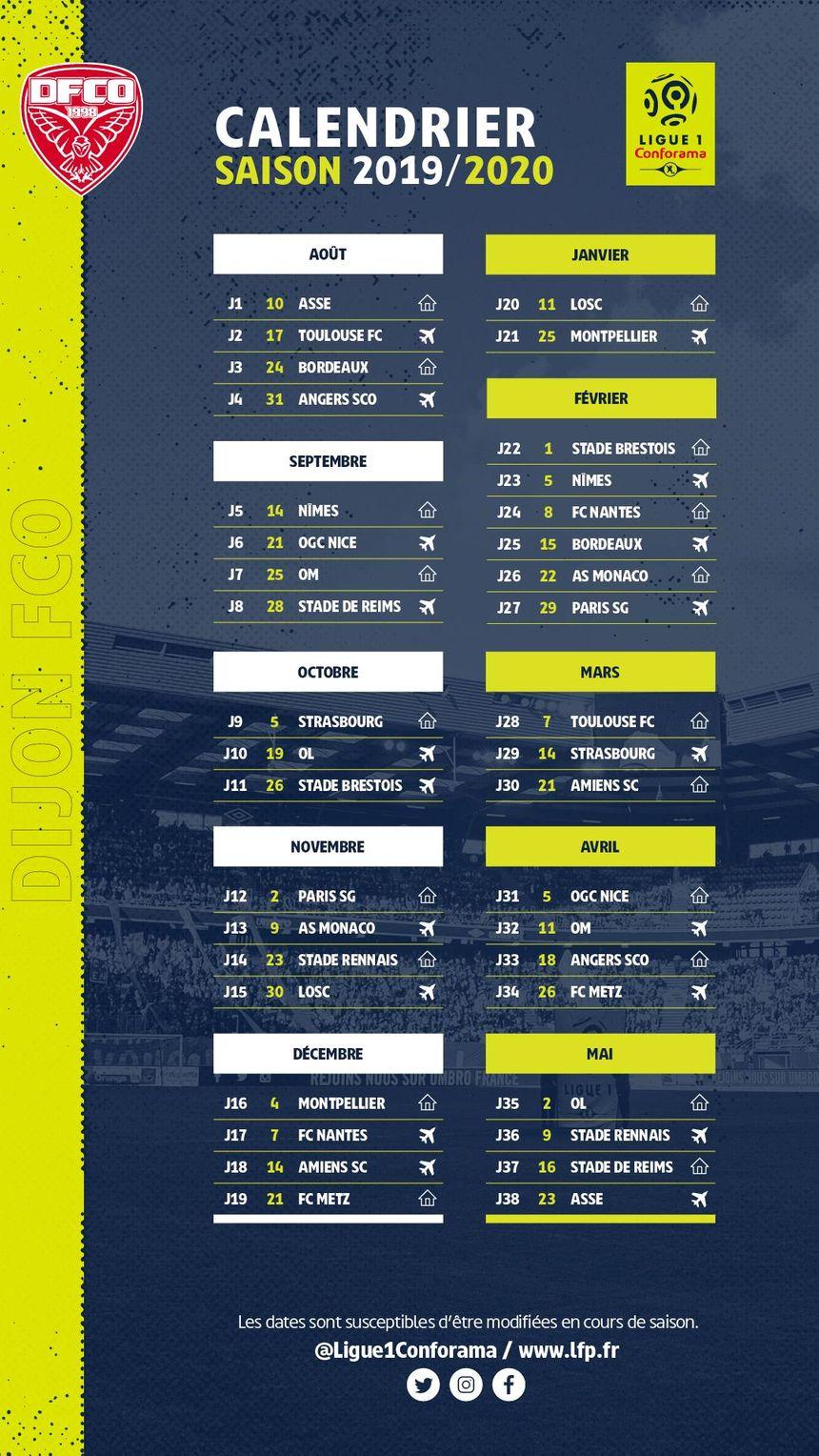 Calendrier Ligue 1 2019 Et 2021 Ligue 1 : découvrez le calendrier du DFCO pour la saison 2019 2020