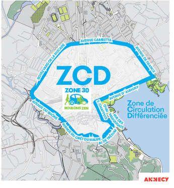 La zone concernée par la circulation différenciée mercredi à Annecy