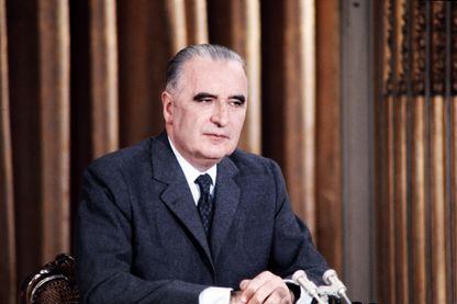 Portrait du président Georges Pompidou lors d'une conférence de presse à l'Elysée le 21 janvier 1970 .
