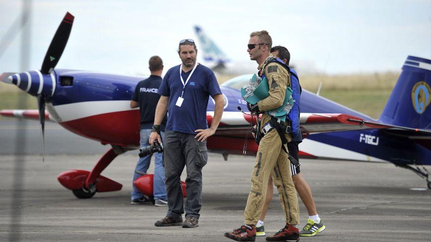 Le pilote français Alexandre Orlwosky, lors des championnats du monde de voltige aérienne en 2015.