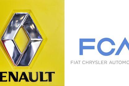 Combinaison des deux logos Renault et Fiat Chrysler automobiles