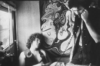 Photo datant du 1er août 1969 de Mike Lang et Artie Kornfeld, producteurs de musique et organisateurs du Festival de Woodstock.