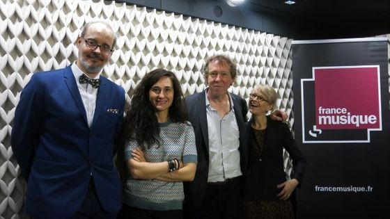 France Musique, studio 452... Jean-Philippe Biojut, Anne-Catherine Gillet, Benoît Duteurte & Anne Kessler (g. à d.)