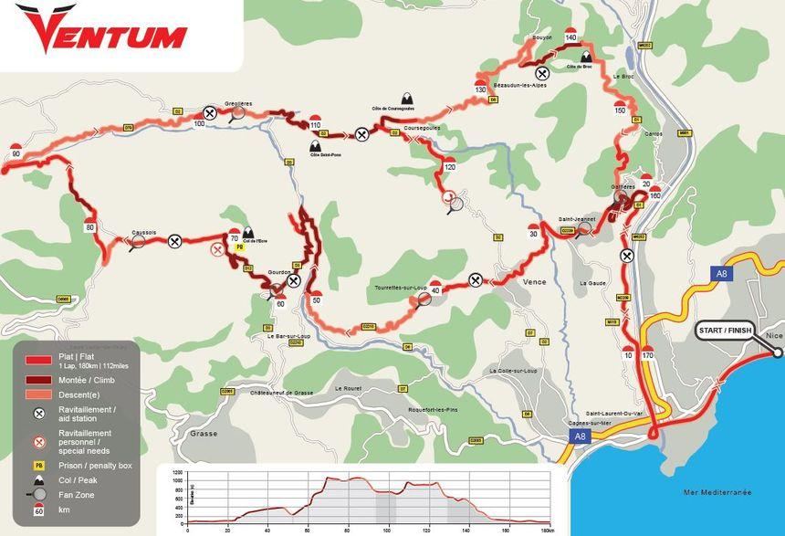 Le parcours vélo de l'Ironman de Nice avant modification du parcours.