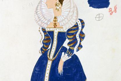 Croquis de costume par Yves Bonnat pour l'opéra Boris Godunov en 1953