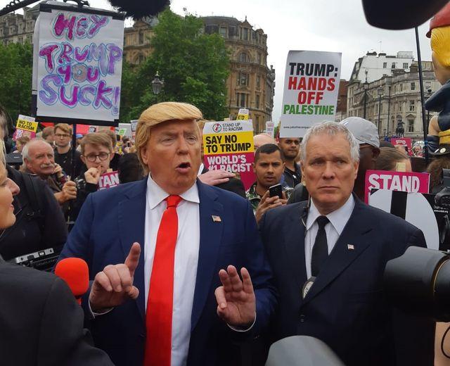 Un sosie à la manifestation anti-Trump à Londres mardi 4 juin 2019
