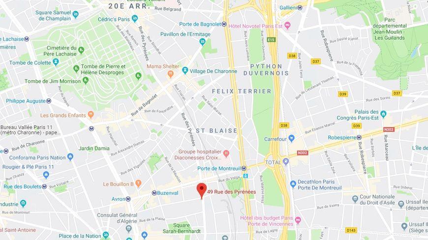 L'agression a eu lieu au niveau du 49, rue des Pyrénées dans le XXe arrondissement