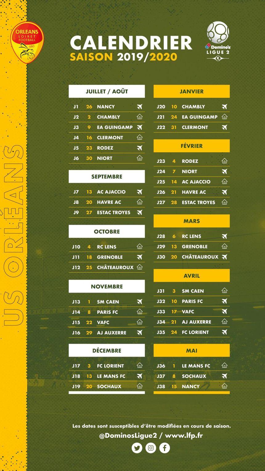 Le calendrier de l'US Orléans pour la saison 2019-2020.