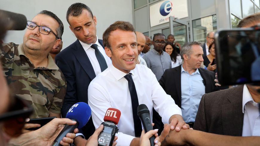 Emmanuel Macron à l'agence Pôle Emploi de Cap Pinède à Marseille