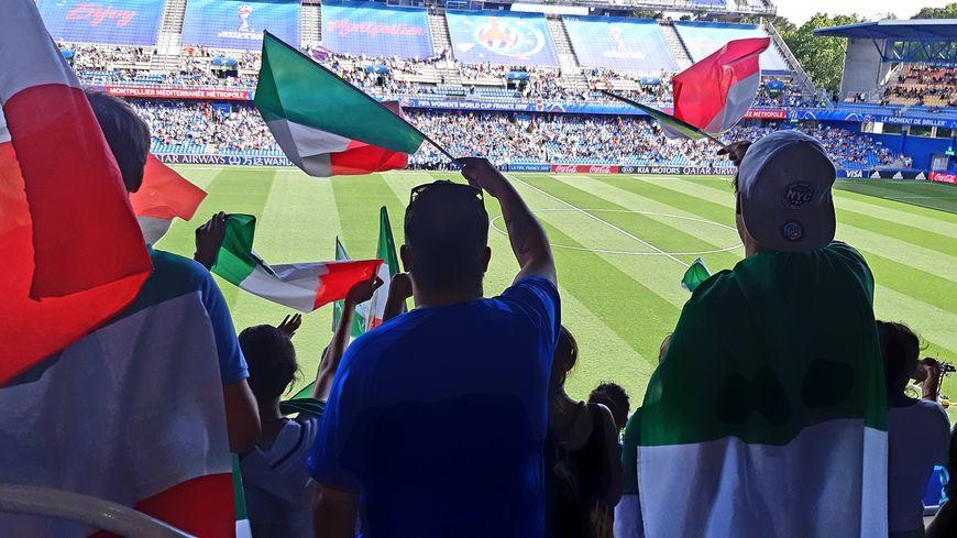 Les supporters italiens étaient très nombreux au stade de la Mosson pour voir leur équipe se qualifier en quarts de finale