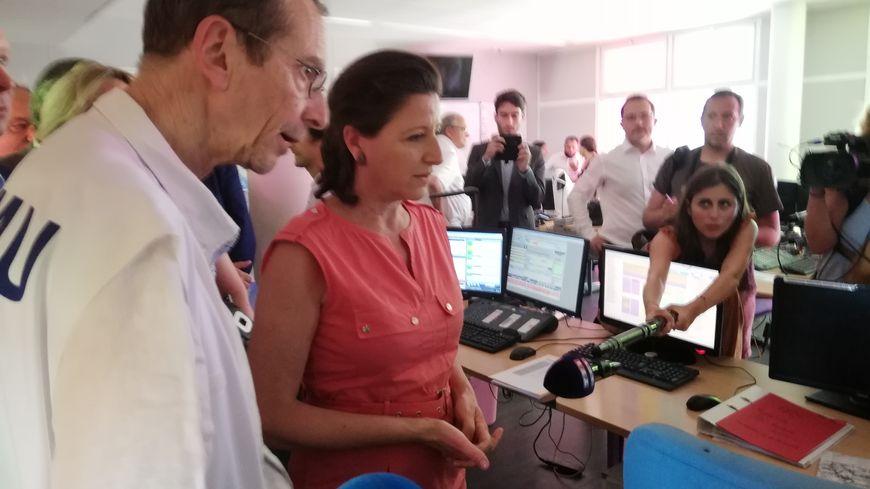 La ministre de la santé Agnès Buzyn s'est rendue au CHU de Nîmes dans le cadre du plan canicule.