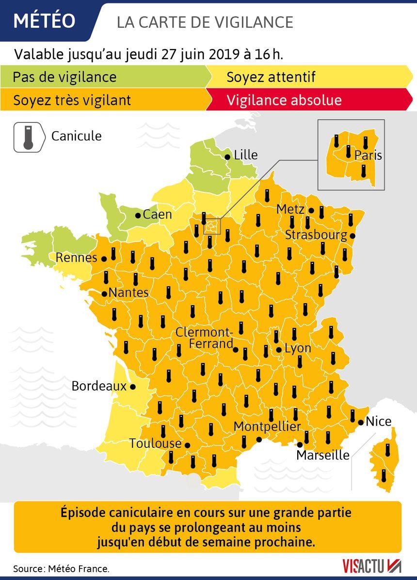 carte vigilance canicule 2020 Canicule : 78 départements en vigilance orange,