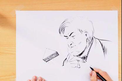 Capture écran de la leçon de dessin de François Schuiten sur Le dernier pharaon