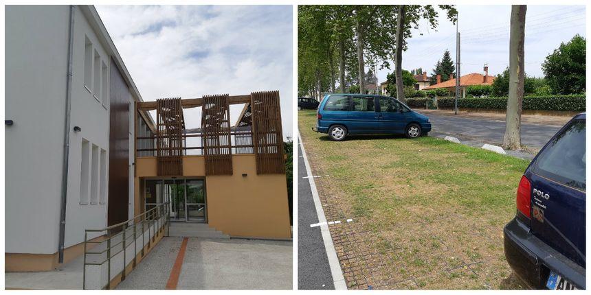 """La crèche a été rénovée avec le soucis de rester la plus fraîche possible. Des parkings ont été mis en herbe pour tenter de """"rafraîchir"""" un peu la ville."""