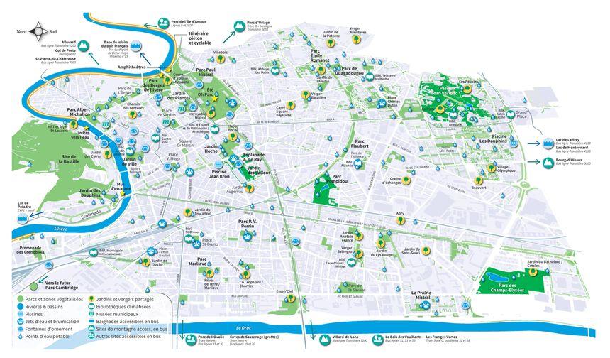 Carte les lieux de fraîcheur à Grenoble
