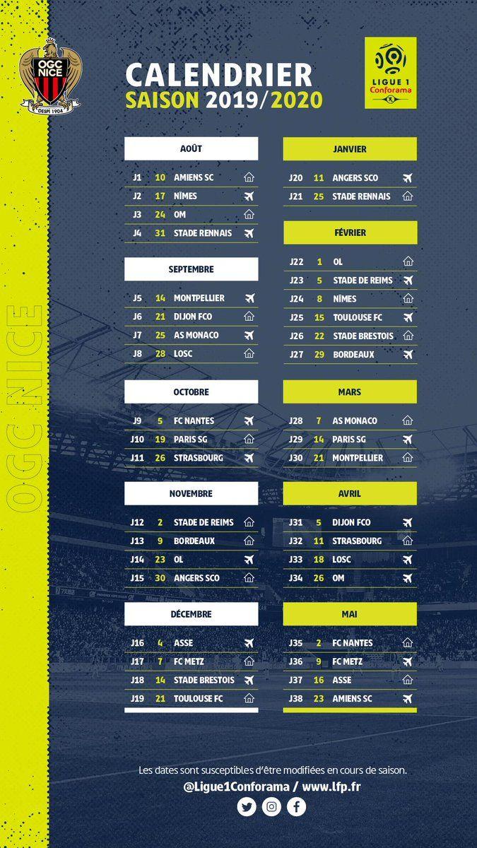 Calendrier Ligue 1 Nice.Ligue 1 Le Calendrier De L Ogc Nice Pour La Saison 2019